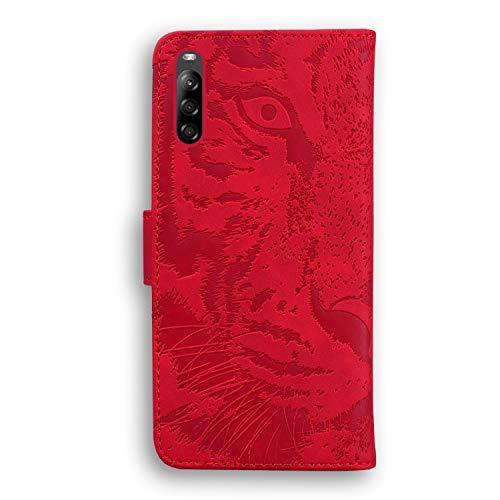 Hülle für Sony Xperia L4 Lederhülle Flip Tasche Klappbar Handyhülle mit [Kartenfächer] [Ständer Funktion], Cover Schutzhülle für Sony Xperia L4 - JETX010677 Rot