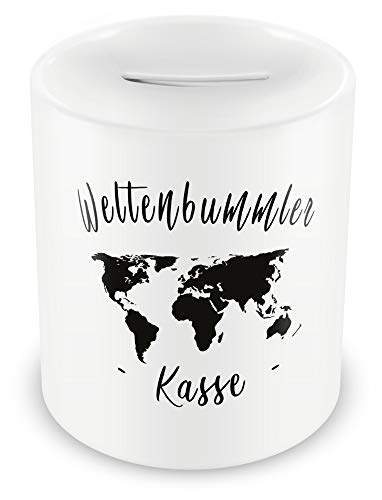 Samunshi® Urlaubskasse Spardose Urlaub Geldgeschenk Reise - Weltenbummler Kasse - Geld Geschenk Welt Spardose Reise Money Box Erwachsene