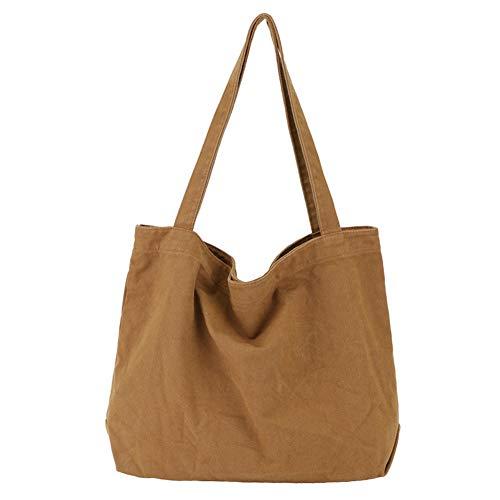 YARUODA Women Shoulder Bags Canvas Tote Bag Handbag Work Bags, Brown
