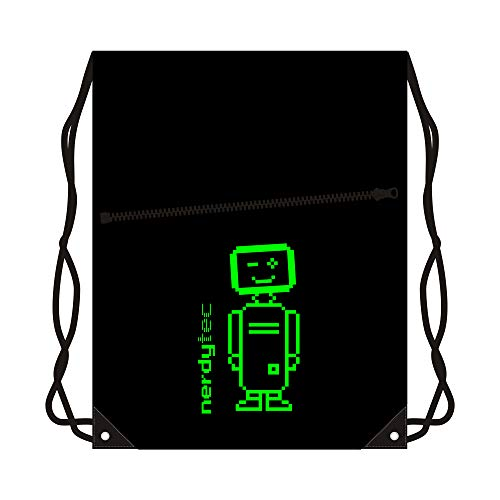 nerdytec Turnbeutel - Roboter Style - Giftgrün, Sporttasche, Gym, Sack