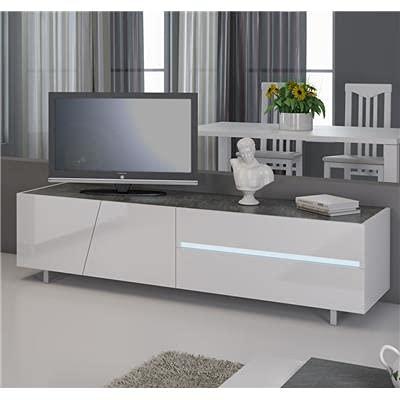 Kasalinea Meuble TV Blanc laqué avec éclairage à LED intégré Design Julia-L 160 x P 50 x H 46 cm- Blanc