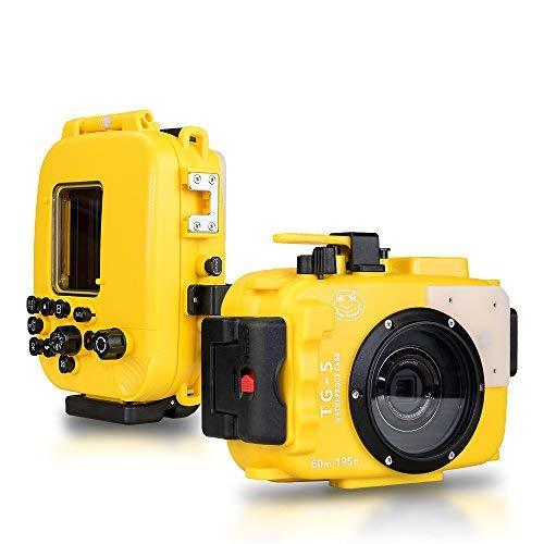 Per Olympus TG5 giallo 195 piedi/60m custodia fotocamera subacquea custodia impermeabile (custodia + filtro rosso)