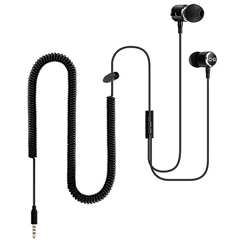 Extra Long Wired Headphone for TV PC with 12FT Spring Coiled Extension Cable, Earphones Earbuds for 3.5mm Audio Output Devices, Metal Stereo Bass in-Ear Headset with Volume Control-ChanGeek CGS06