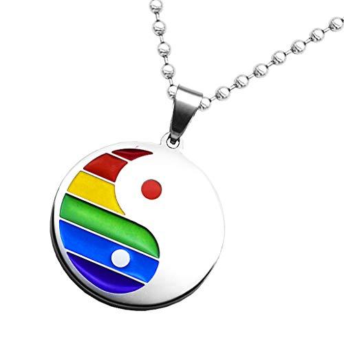 oshhni Collar de Cadena Inoxidable del Orgullo LGBT de Los Colgantes de La Etiqueta del Perro del Iris Gay del Esmalte