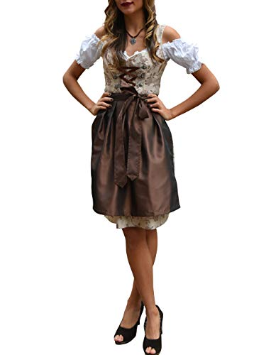 Golden Trachten-Kleid Dirndl Damen 3 TLG, Midi für Oktoberfest, mit Schürze und Bluse 487GT,Hellbraun,34