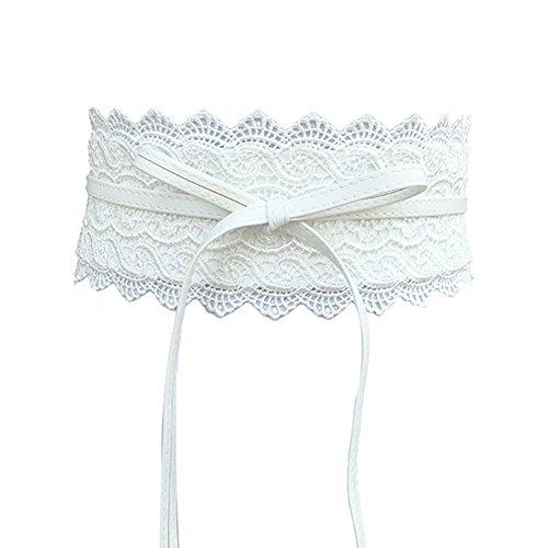 Vestito da donna alla moda con fiocco in finta pelle e pizzo con decorazione larga cintura cintura cintura cintura bianco Etichettalia unica