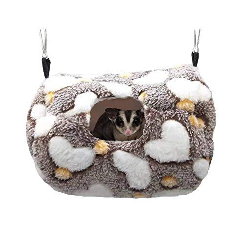 Hamster Plush Hammock Warm Sleeping Nest Bed for Syrian Hamster Gerbil Rat Mouse Sugar Glider Squirrel (Coffee)