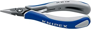 KNIPEX 34 22 130 Precision Electronics Gripping Pliers burnished with multi-component grips 135 mm