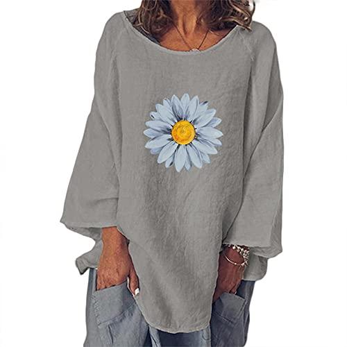 Fishoney T-Shirt Femme col Rond Manches Longues imprimé Fleurs Hauts de t-Shirt décontractés d