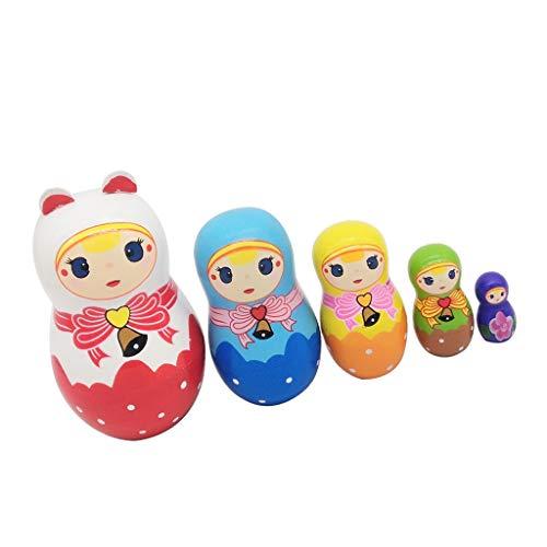 B Blesiya 5 Stück Handbemalt Russische Matroschka, Matrjoschka, Matruschka, Russian Nesting Dolls - B