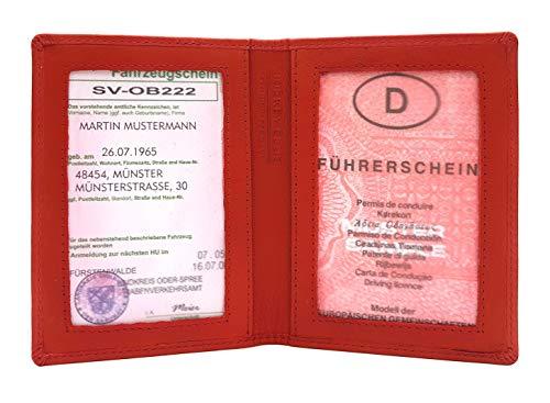 Leder Ausweishülle Etui Ausweisetui Hülle für Fahrzeugschein, KFZ Papiere, rosa Führerschein Jockey Club Nappaleder