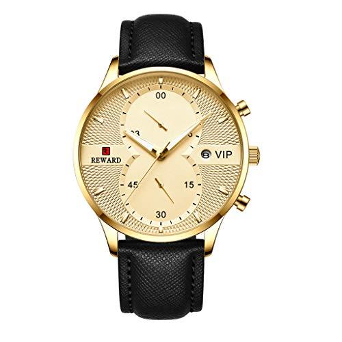 FAPROL-REWARD Analoguhr Für Herren, Kalenderfenster Quarzarmbanduhr, Männer Chronograph, Business Precision Uhren Lederband Gold