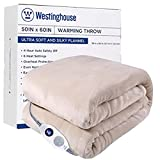 Westinghouse Electric Blanket Heated Throw Soft Silky Microplush Flannel Heating Blanket 50'x60', 6 Heat Settings & 4 Hours Auto Off, Machine Washable, Beige