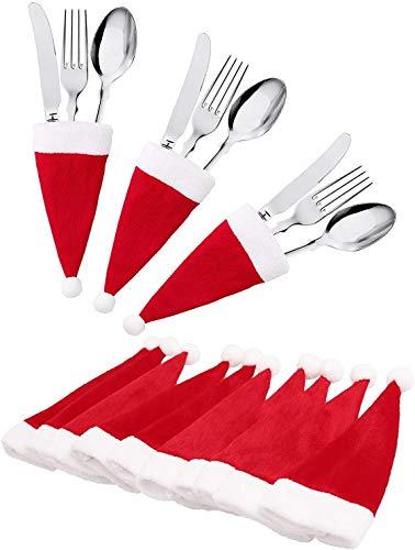 jeeri 24 Stück Weihnachtsdeko Tisch, tischdeko Weihnachten Weihnachtsmannmütze Besteck Tasche Weihnachten für weihnachtstischdeko Rotweinflasche Weinglas