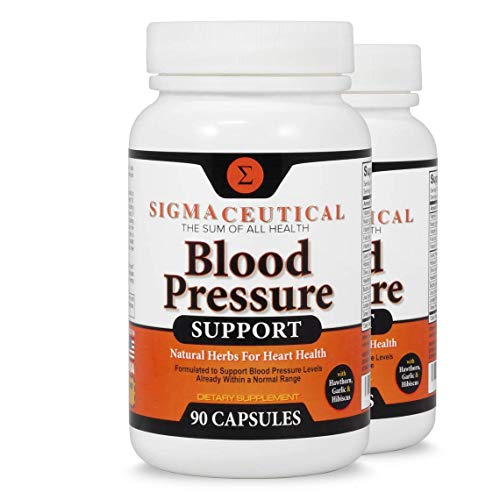 2 Pack of Blood Pressure Support Formula - High Blood Pressure Supplement with Hawthorn Extract, Hibiscus Supplement & Garlic Extract - Blood Pressure Medicine - 90 Hibiscus Capsules Each