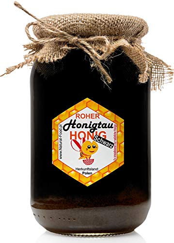 ROHER HONIGTAU | Schwarz | König der Honige | 1,25 KG | Roh, natürlich, sehr gesund, ohne Zusätze. Ungefiltert, nicht geschleudert oder erhitzt | Gemacht von Bienen