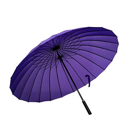 ThreeH Viajar Paraguas De Golf A Prueba De Viento 24 Costillas Negocio Paraguas De Gran Tamaño KS07,Purple