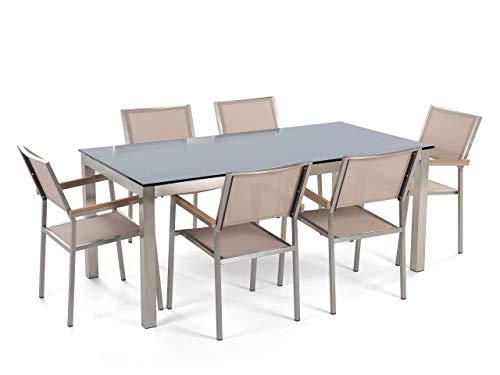 Beliani - Table de Jardin et 6 Chaises - Grosseto - Plateau en Verre, 180 x 90 cm, Chaises en Textile, Noir et Beige