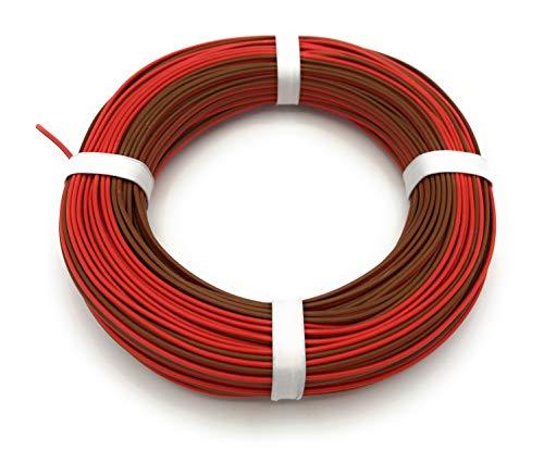 BELI-BECO L2218/25 Kabel - Kupferlitze 2 x 0,14 mm² (1x18x0,10 mm) - Zwillingsleitung - 25 m Ring (Rot-Braun)