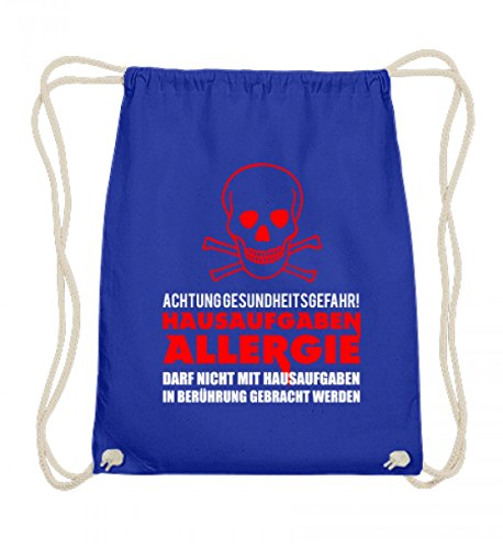 ALBASPIRIT Hochwertige Baumwoll Gymsac - Hausaufgaben Allergie Vorsicht Gesundheitsgefahr Schule Hausarbeit Übung Schüler Geschenk