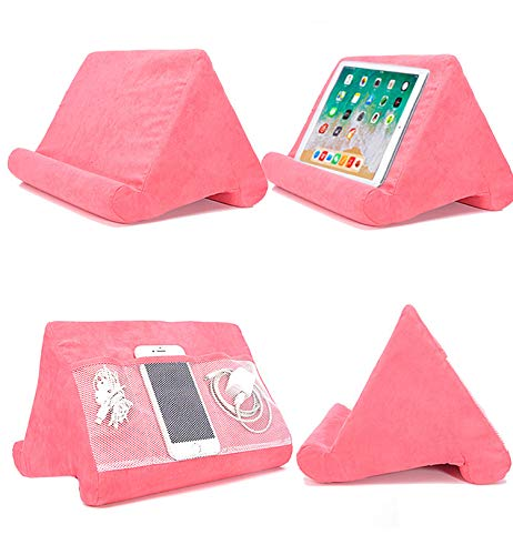 Cushion Stand Tablet Cushion with Net Pocket Multi-Angle Soft Tablet Pillow Adjustable 3 Viewing Angle, for Lap, Sofa and Bed - Universal Phone & iPad Stands, eReaders, Magazines, Kindle (pink)