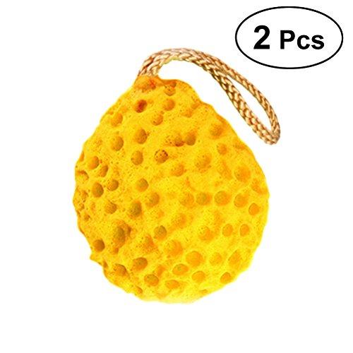 Frcolor Bain de douche en forme de nid d'abeille portatif en forme de boule de bain, éponge