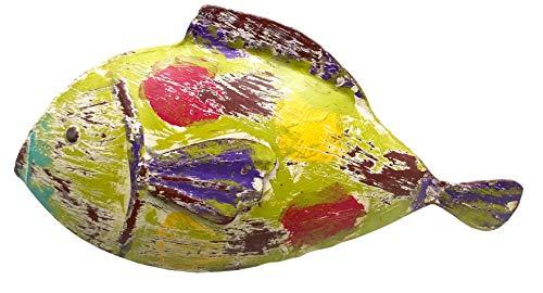 bellarte dekorative ausgefallene Metallfigur Deko-Figur Fisch groß in 3 möglichen Farben (grün bunt)