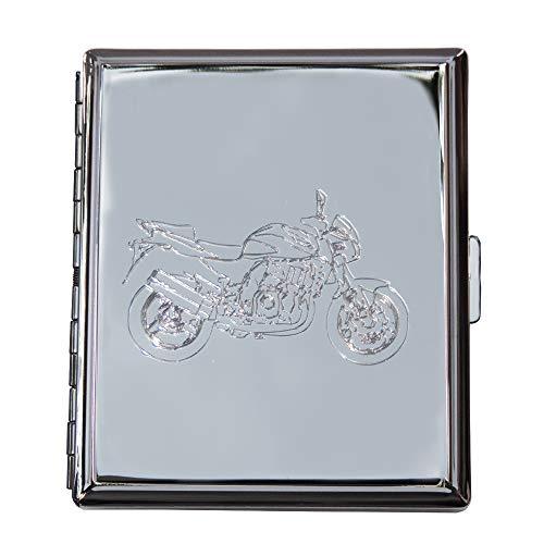 Edles Zigarettenetui Silberfarbig hochglanzpoliert -Gravur Motorrad/MotoGP: Etui mit Klammerhalterung; Motorradsport/TT/Biker