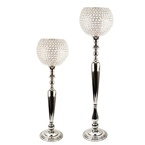 Crystal Orb Candle Holder with Tabletop or Floor Standing Metal Candle Stand - Gold and Silver - Perfect for Classic, Elegant Home Decor & Special Events (Large, Silver)