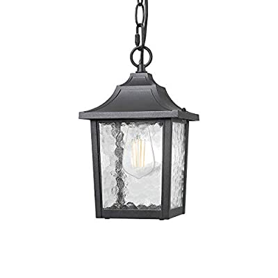 BEEZOK Outdoor Pendant Light - Exterior Hanging Lamp, Matt Black Water Rippled Glass Ceiling Lighting Fixture for Porch Patio Entryway