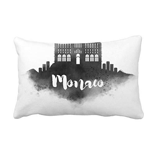 DIYthinker Palais Princier De Monaco Inkt Stad Gooi Lumbar Kussen Invoegen Kussen Cover Thuis Sofa Decor Gift