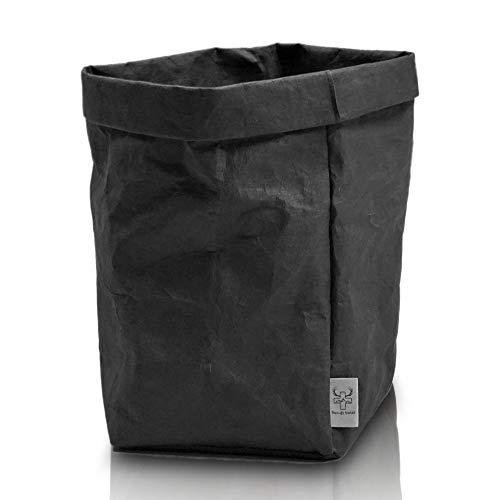 bun-di Swiss® Trash | Dekorativer Designer Papierkorb mit Knitteroptik für Büro, Arbeitszimmer | waschbares Papyr | 12l (Black)