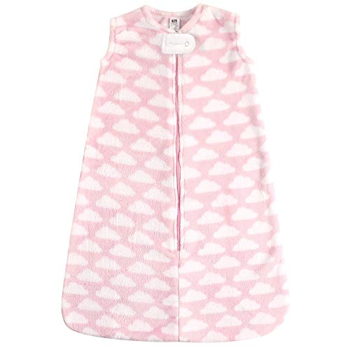 Hudson Baby unisex baby Plush Sleeping Bag, Sack, wearable blankets, Pink Clouds Plush, 12-18 Months US