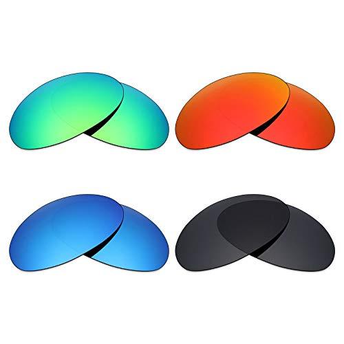 Mryok 4 Pares Lentes de Repuesto polarizadas para Oakley Romeo 1 Gafas de Sol – Stealth Negro/Fuego Rojo/Azul Hielo/Verde Esmeralda