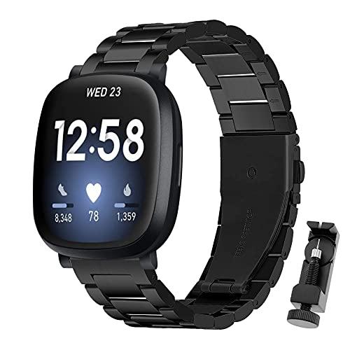 BDIG Correa Compatible para Fitbit Versa 3 Metal Correas, Fitbit Sense Pulsera de Repuesto de Acero Inoxidable Hebilla Ajustable Correa para Versa 3/Sense (No Host)
