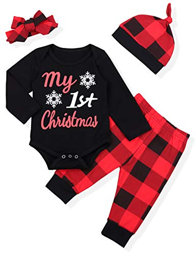 Newborn Baby Boy Girl Clothes Little Man Long Sleeve Romper,Plaid Pants + Cute Hat 3pcs Outfit Set (A-Black + red, 12-18 Months)