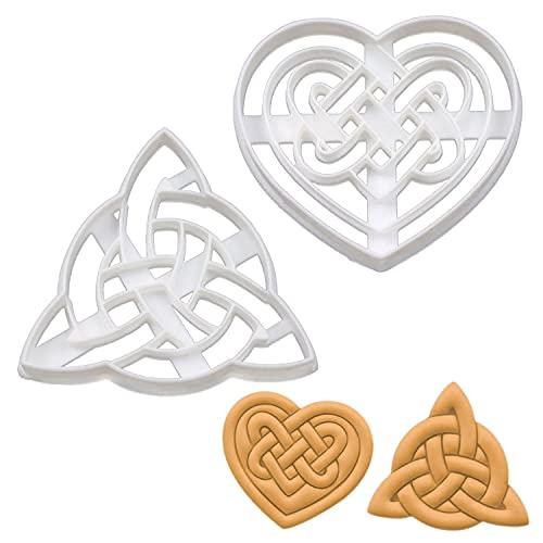 Set of 2 Celtic Triquetra cookie cutters (Designs: Celtic Heart and Triquetra), 2 pieces - Bakerlogy