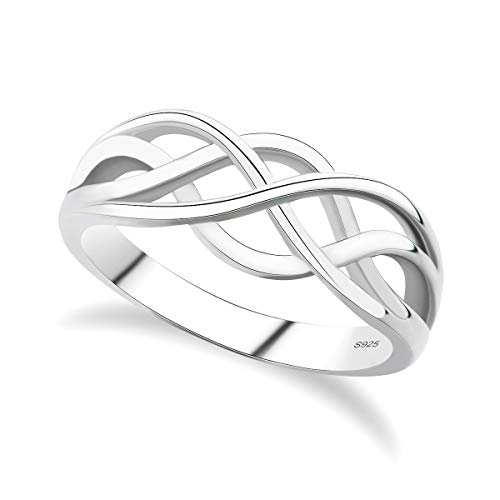 GULICX 925 Sterling Silver Ring Celtic Everlasting Love Knot Filigree Wedding Finger Ring Size W