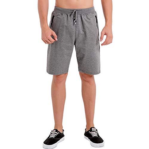 Umelar  Herren Shorts Sport Shorts Herren Kurze Hose Herren Shorts Fitness Kurze Hose Jogging Hose Cotton Herren Short Herren, M, Dunkel Grau