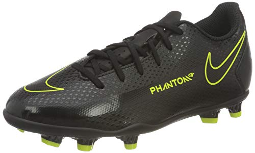 Nike JR Phantom GT Club FG/MG, Scarpe da Calcio, Black/Black-Cyber-lt Photo Blue, 33.5 EU