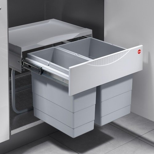 Hailo TR Swing 3644701 Rubbish Bin 50.2/30 for Cabinets from 500 mm with Hinged Door, Grey