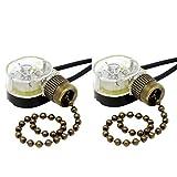 Pull Chain Switch Zing Ear ZE-109 Ceiling Fan Switch Ceiling Fan Light Lamp Replacement 2 Pack Bronze