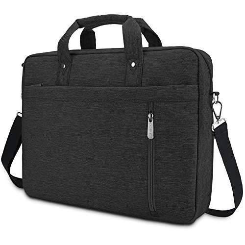 DOB SECHS Laptop Bag Case 15'' 15.6 Inches Computer Bag Shockproof Briefcase Shoulder Messenger Bag Waterproof Business with Tablet Pocket for Men Women Travel School Lawyer,Black