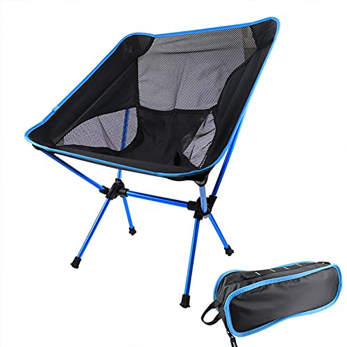 Pteng Bequemer Klappstuhl, Campingstuhl Rucksack Stuhl Tragbarer kompakter ultraleichter Outdoor-Reisestuhl mit Tragegurt für Outdoor, Strand, Camping, Blau