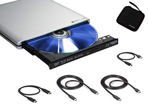 techPulse120 Externes USB 3.1 USB-C UltraHD UHD 4k 3D M-DISC Blu-ray BDXL HDR10 100GB Laufwerk Brenner Burner Superdrive UltraSlim BD DVD CD Ultra Paket Tasche 90cm Anschlusskabel Aluminium Silber