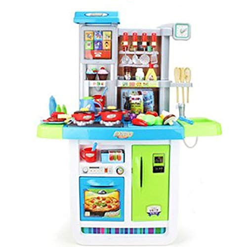 CaoQuanBaiHuoDian Kinder Bausteine Kinder-Spielküche Set mit Backofen Educational Kind-Küche-Spielzeug for Kinder Pretend und Kindergarten (Color : Blue, Size : 98x74x35cm)