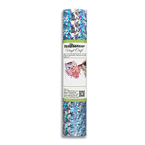 TECKWRAP Holographic Glass Flower Adhesive Craft Vinyl,1ftx5ft,Silver