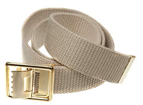"Jackster Marine Corps Military Grade Web Belt Solid Brass Buckle 54"" Long Adjustable (Khaki)"