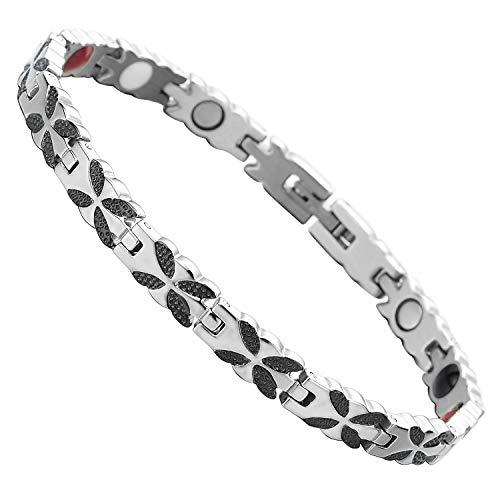 Coolsteelandbeyond Armband voor dames en heren, uniseks, roestvrij staal, met vier elementen, sterke magneten in Duitsland, link-tool voor het verwijderen inbegrepen