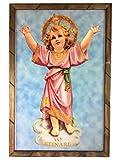 Holy Child Santo Divino Niño Nino Jesus Cuadro Religioso Con Marco de Madera Rustica para colgar 36' x 24' x 1' Nuevo Hecho en Mexico